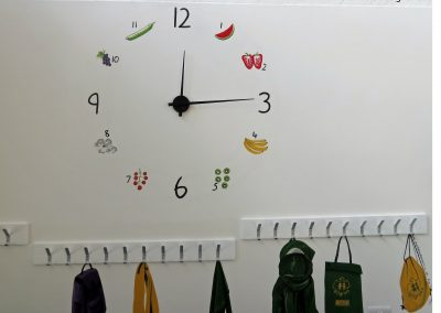 Dining room clock with pegs small