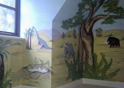 Dinosaur landscape mural