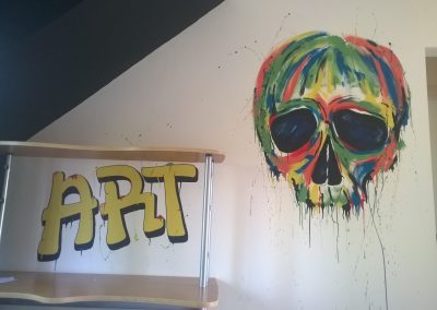 Graffiti skull mural for teenage boy