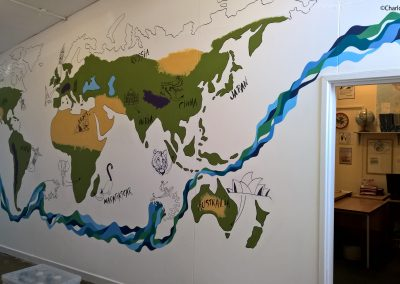 Graffiti style World map mural for school