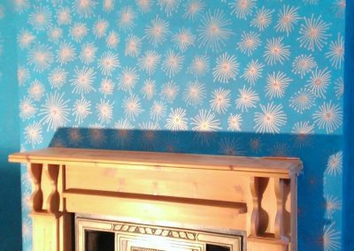 Image of copper and teal hand painted wallpaper
