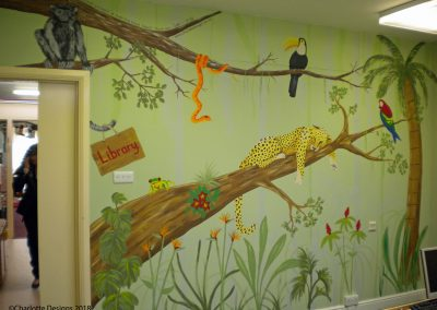 Jungle mural for school library