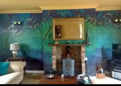 Opulent hand painted mural of froest and trees