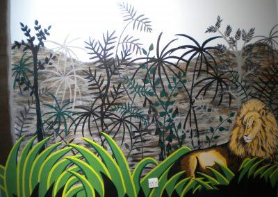 Rousseau style jungle mural