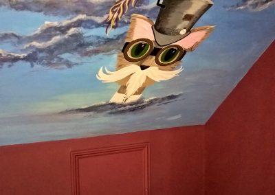 Steam punk cat mural