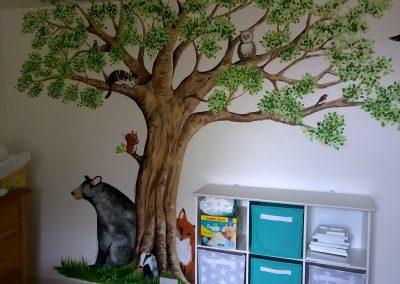 Image of tree nursery mural with bears and fox