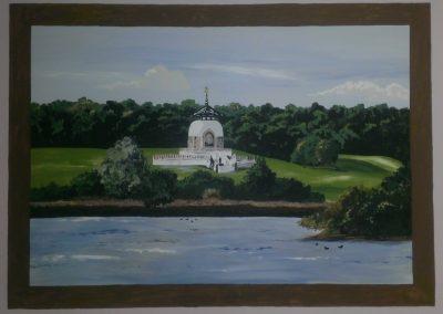 mural of the peace pagoda in Milton Keynes