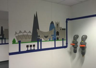 Image of training room mural for grundfos pumps
