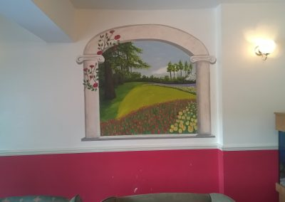 Image of a trompe l'oeil mural of garden