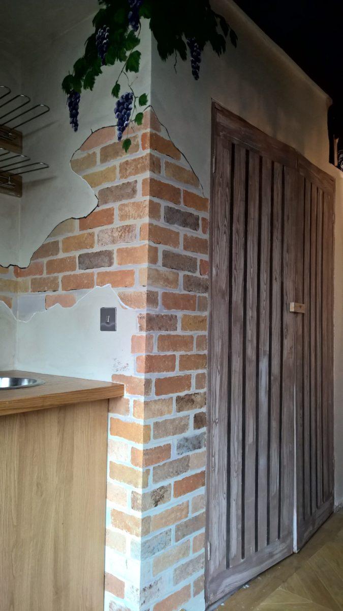 faux brick and faux wood doors