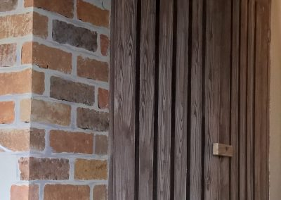 faux wood and brick