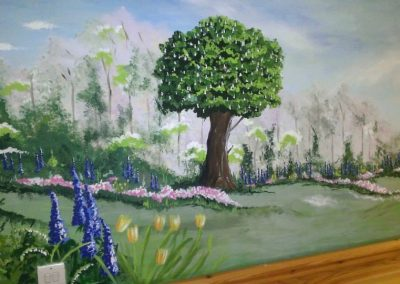 garden mural in a care home