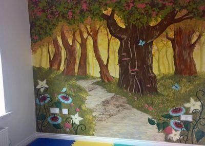 magical forest mural
