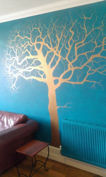 Copper tree mural
