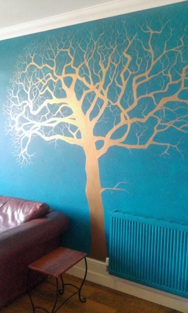 Copper tree mural