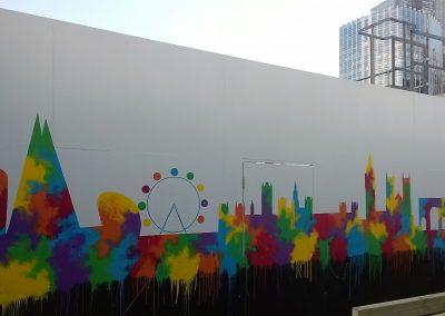 Image of london skyline mural for roof garden