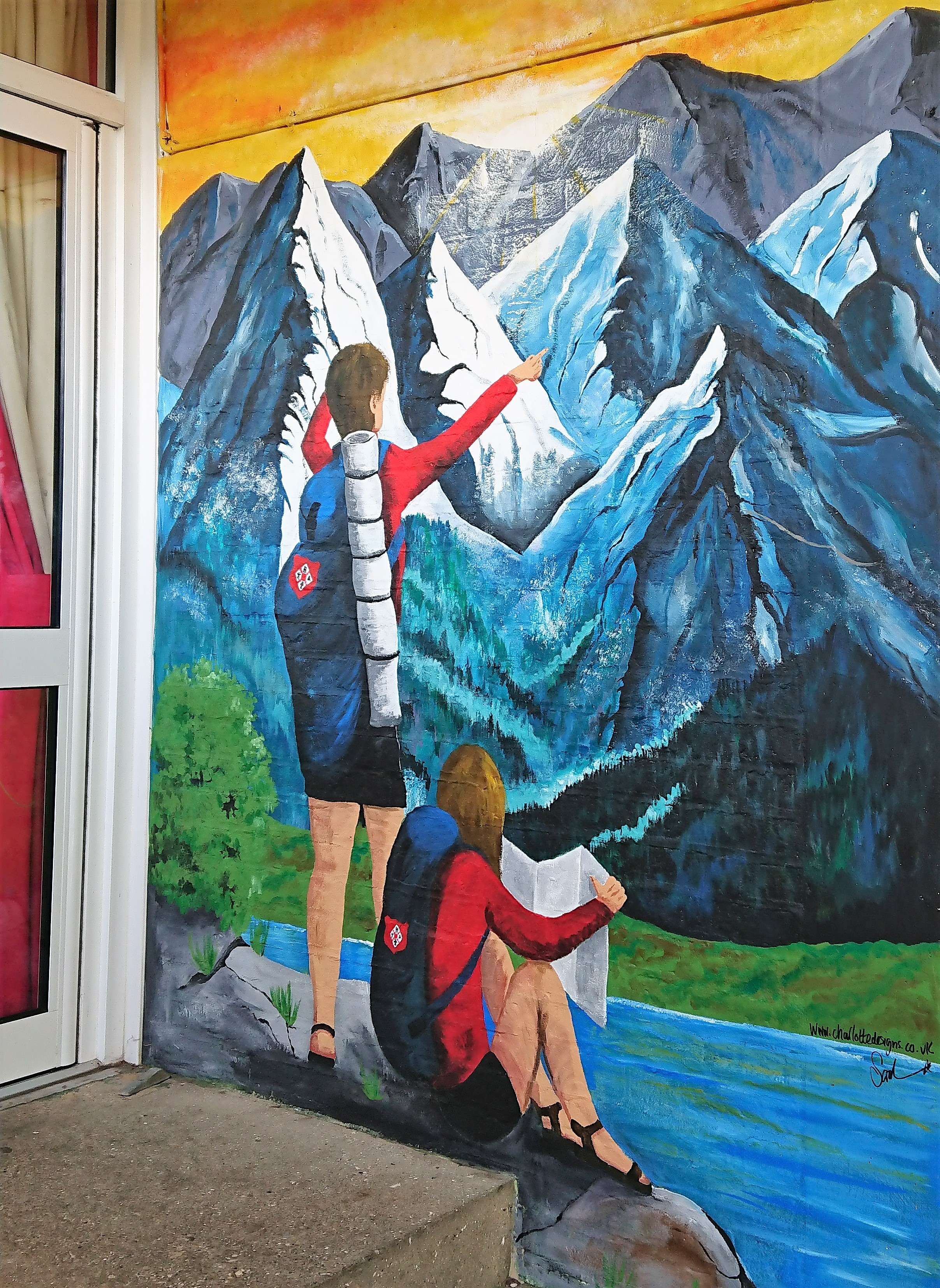 Image of mountain mural with children