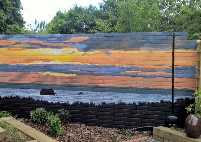Sunset garden mural