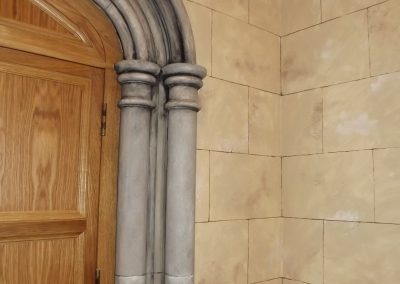 Image of Faux stone wall and column