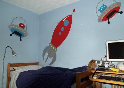 Image of boys retro rocket space kids murals