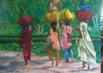 Indian women in landscape canvas