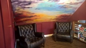 Sunset sky ceiling mural