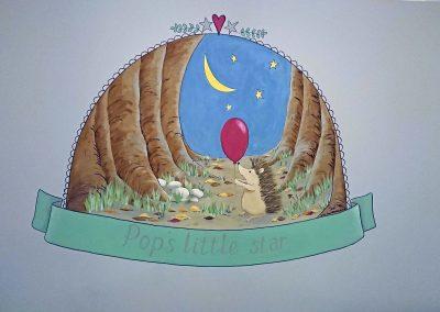 Image of hand painted hedgehog nursery mural