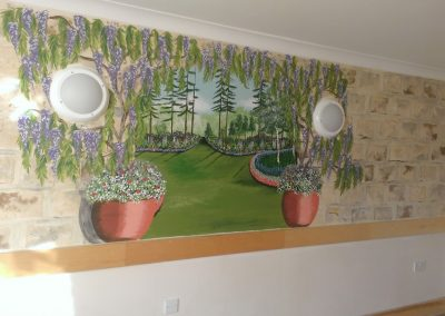 Care home mural with wisteria