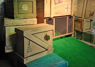 aged plane crates