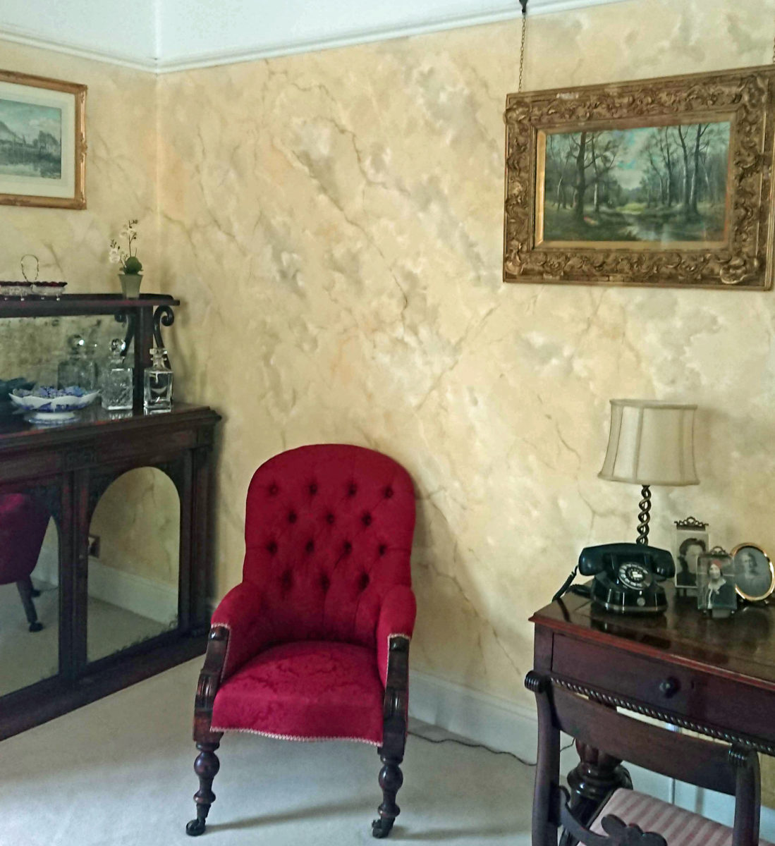 Hand painted marble sitting room