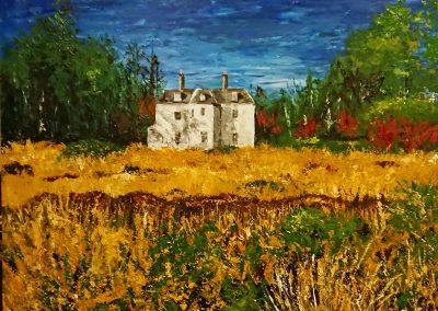 Canvas of acrylic landscape