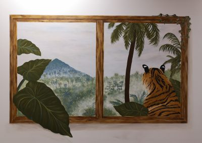trompe l'oeil window with tiger