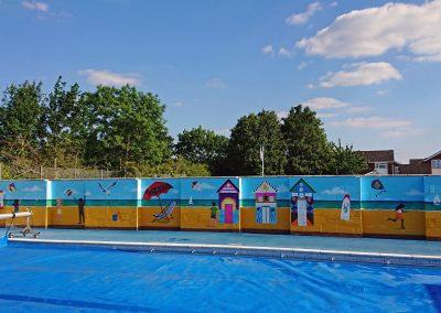 school swimming pool mural