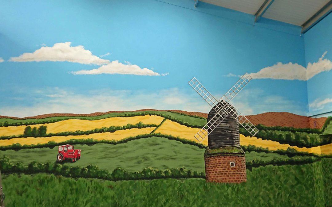 farm countryside wall art with windmill