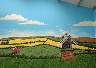 farm countryside wall art with windmill