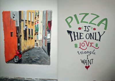 Pizza restaurant murals