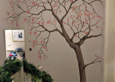 Image of tree mural on a stairwell