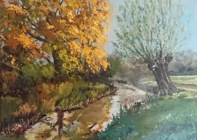 Autumn tree landscape painting
