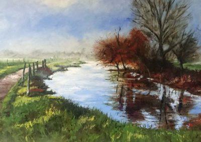 Misty morning landscape painting