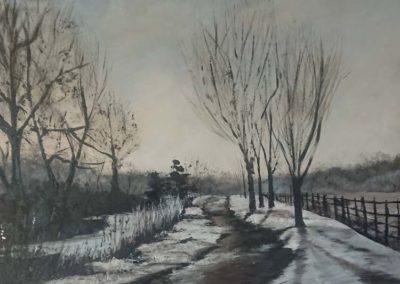 Frosty morning landscape painting