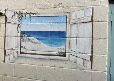 Garden beach view trompe l'oeil