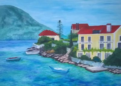 Acrylic painting of greek island