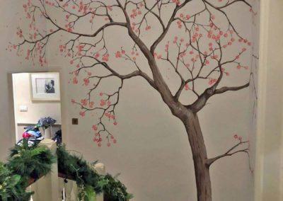 Stairwell spring tree mural