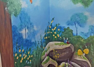 Fairy woodland cloakroom mural