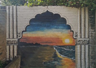 goan beach mural with temple frame