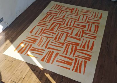 faux wooden floor with rug