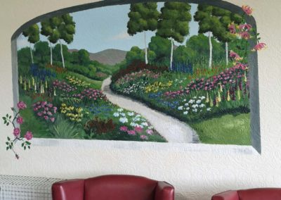 garden view mural for care home