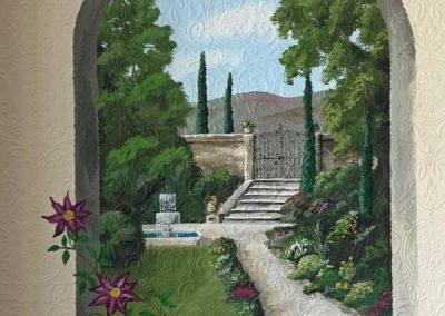 Italian garden mural
