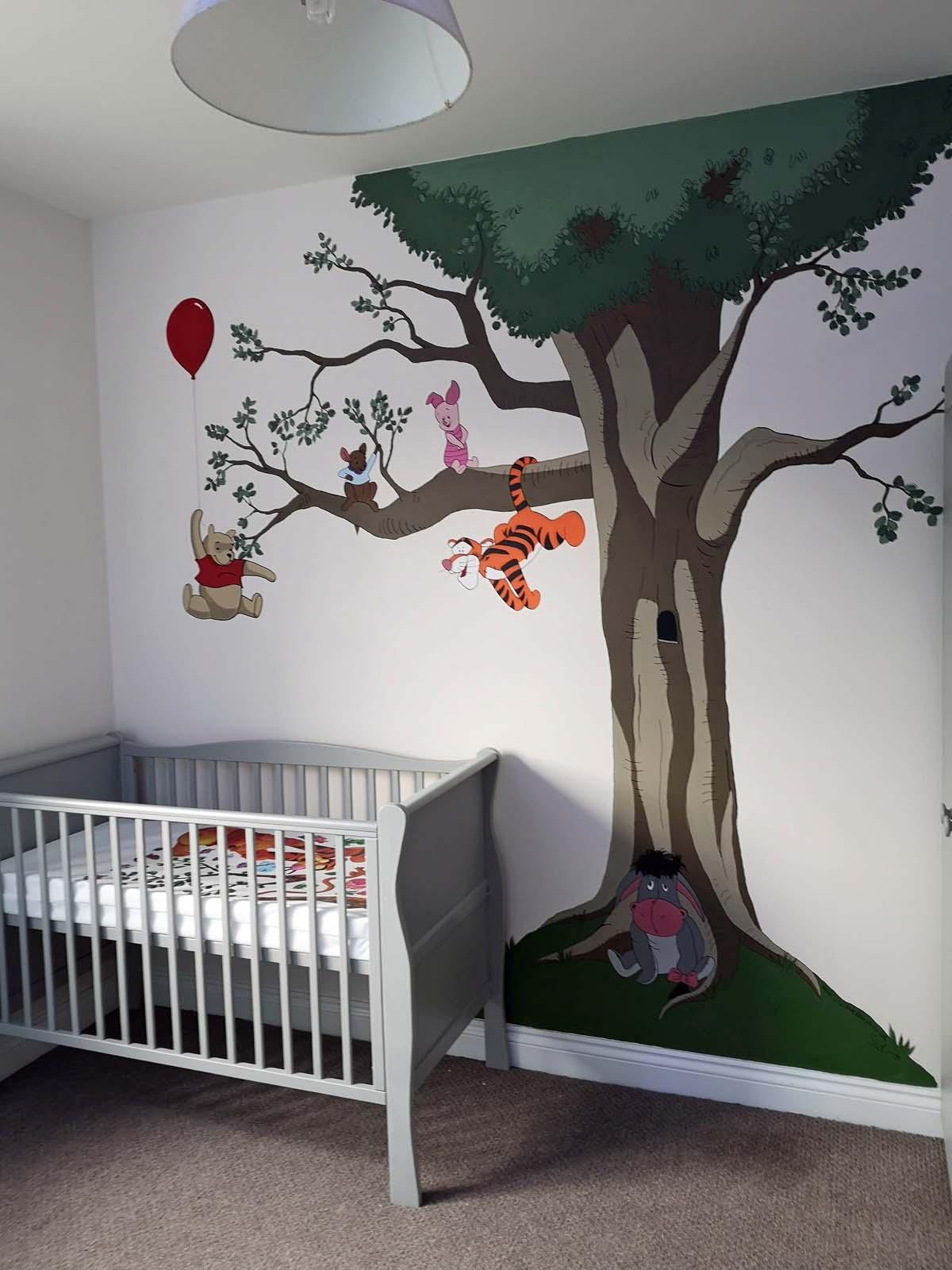 Winnie the pooh tree mural