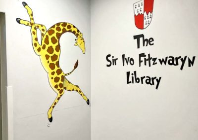 Library mural with Giraffes cant dance